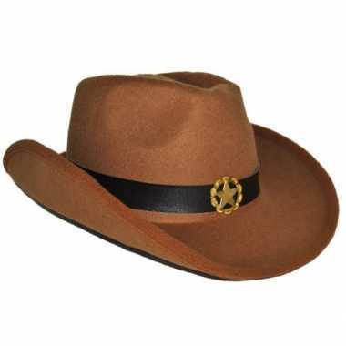 Vilten cowboyhoed bruin
