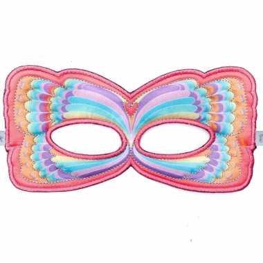 Vlinder oogmasker roze regenboog voor kinderen