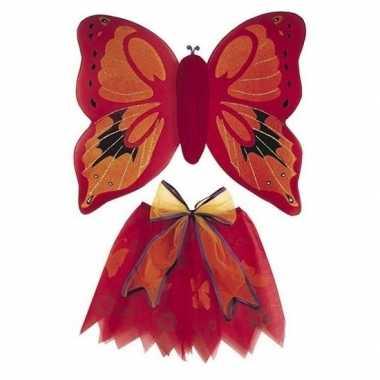 Vlinder vleugels verkleed set rood voor kinderen