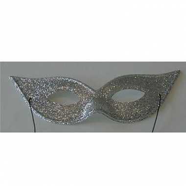 Vlindervorm oogmasker met zilverkleurige glitters