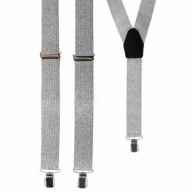 Voordelige zilveren glitter bretels