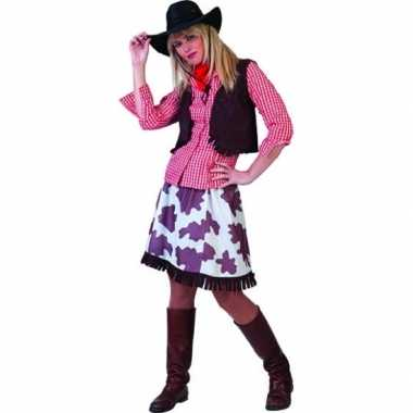 Wild west cowboy overhemd dames rood/wit