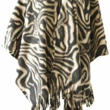 Winter poncho / omslagdoek zebraprint