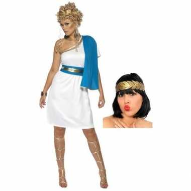 Wit met blauw romeins jurkje inclusief lauwerkrans