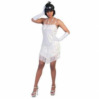 Wit party jurkje met glitter en franje