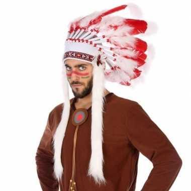 Wit/rode luxe indianen tooi voor heren