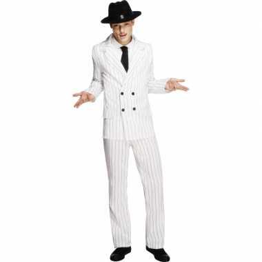 Witte gangster carnavalskledings voor mannen