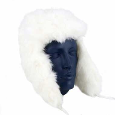 Witte russische bontmuts polar