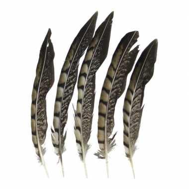 Woondeco fazantveren 18 cm 5 stuks