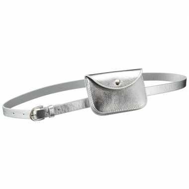Zilver mini heuptasje/buideltasje aan riem voor dames