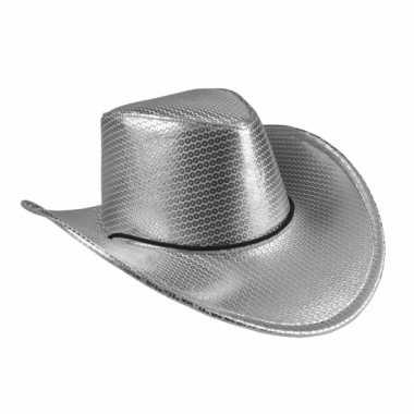 Zilveren cowboyhoed howdy pailletten voor volwassenen