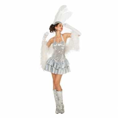 Zilveren showgirl jurk met pailletten