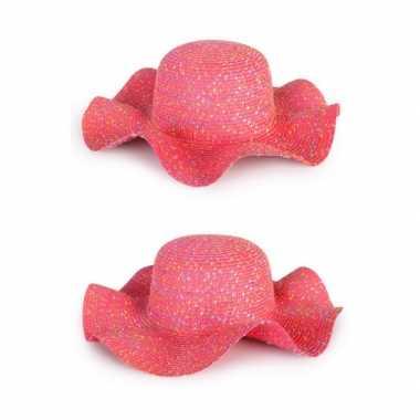 Zomerhoedjes roze voor dames