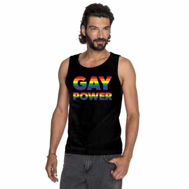 Zwart gay power pride tanktop heren