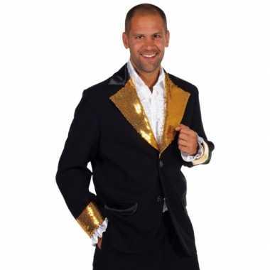 Zwart goud glitter carnavalskleding heren