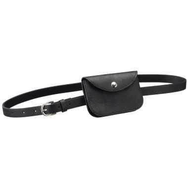 Zwart mini heuptasje/buideltasje aan riem voor dames