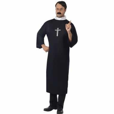 Zwart priester carnavalskleding voor heren