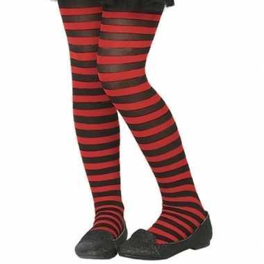Zwart/rode verkleed panty voor kinderen