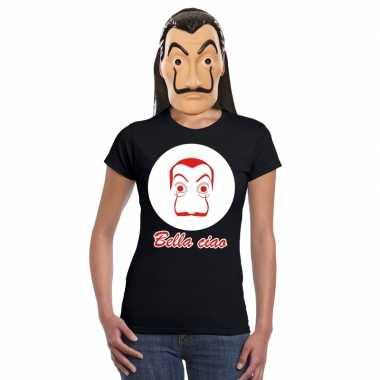 Zwart salvador dali t shirt met la casa de papel masker dames