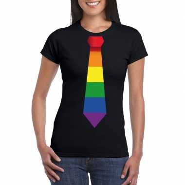 Zwart t shirt met regenboog vlag stropdas dames