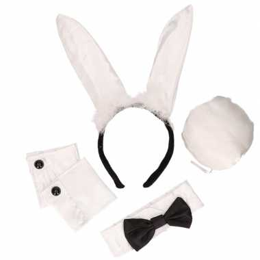 Zwart witte playboy bunny carnavalskleding