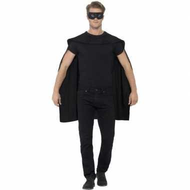 Zwarte cape met oogmasker verkleed carnavalskleding voor volwassenen