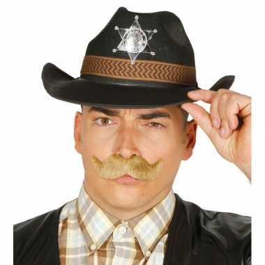 Zwarte cowboy verkleedhoed voor heren