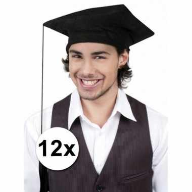 Zwarte geslaagd hoedjes 12x