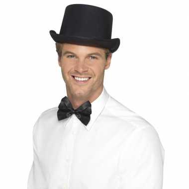 Zwarte hoge hoed satijn look voor heren