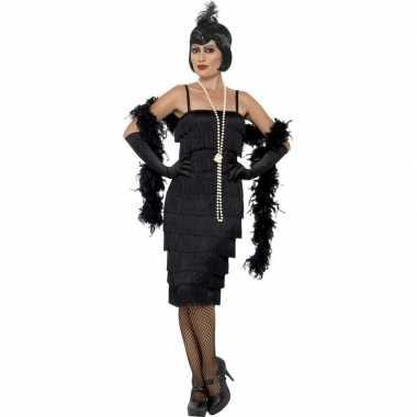 Zwarte jaren 20 flapper jurk lang voor dames