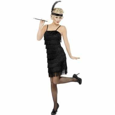 Zwarte jaren 20 flapper jurk voor dames