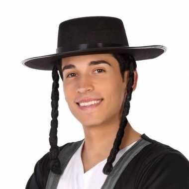 Zwarte orthodoxe jood verkleed hoed voor heren
