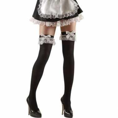 Zwarte over knee kousen met strik