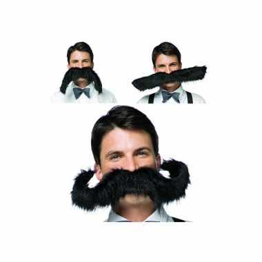 Zwarte snor extra groot carnavalskleding accessoire 50 cm