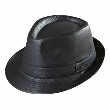 Zwarte trilby hoed lederlook voor volwassenen