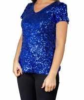 Blauwe glitter pailletten disco shirt dames
