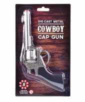 Carnaval accessoires western plaffertjes pistool 22 cm 8 schots