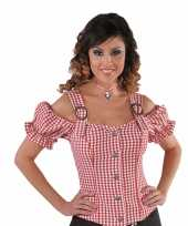 Cowgirl overhemd voor dames rood off shoulder