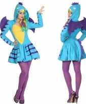 Dierenpak blauwe draak verkleed carnavalskleding jurk voor dames