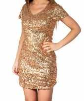 Gouden glitter pailletten disco jurkje dames