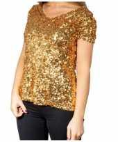 Gouden glitter pailletten disco shirt dames