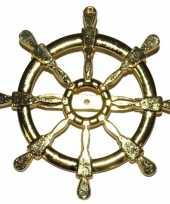 Gouden matroos zeeman verkleed broche scheepsroer 7 cm