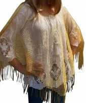 Gouden visnet poncho omslagdoek stola dames
