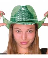 Groene disco cowboy hoed deluxe