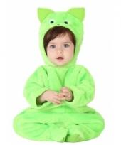 Groene kat dierencarnavalskleding voor babys