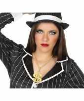 Grote gouden dollar ketting verkleed accessoire voor volwassenen