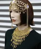 Halsketting goud met steentjes
