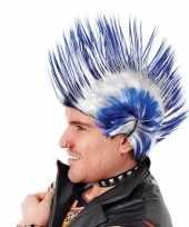 Hanekam kobalt blauw met wit