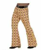 Heren hippie broek met retro print maat xxl