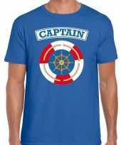 Kapitein captain verkleed t shirt blauw voor heren